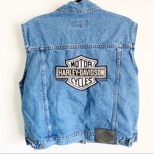 Vintage Harley Davidson denim Jean Vest XL